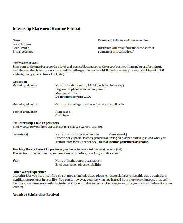 Internship Resume Template Word  BrianhansMe