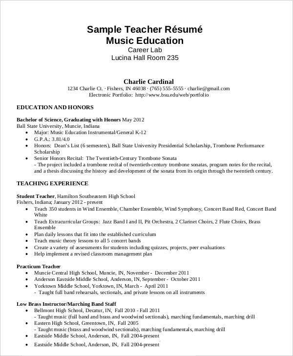 Sample Teacher Resume Music Education