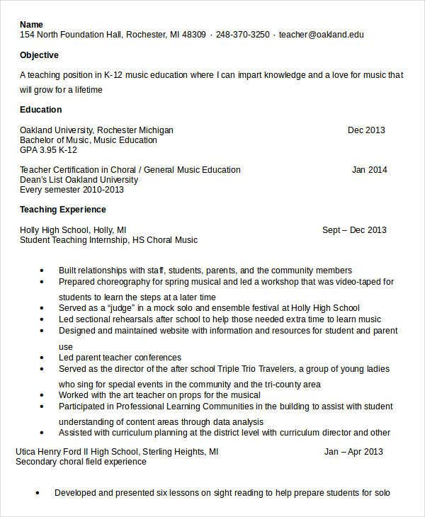 music teacher resume sample graduate template student education examples