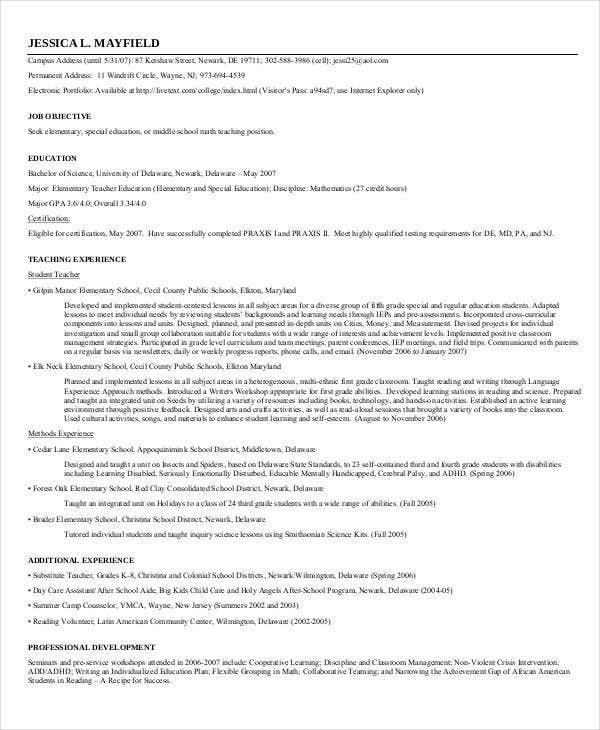 resume format for teacher job download