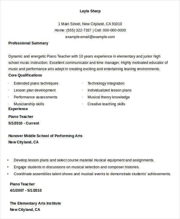 Piano Teacher Resume Sample