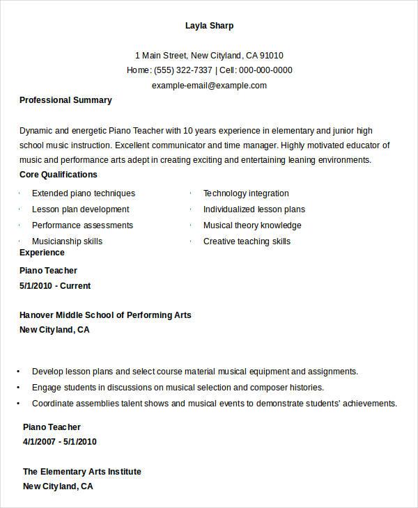 piano teacher resume examples lynxbus