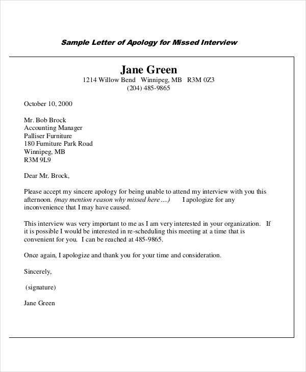 Superieur Sample Apology Letter For Missed Interview