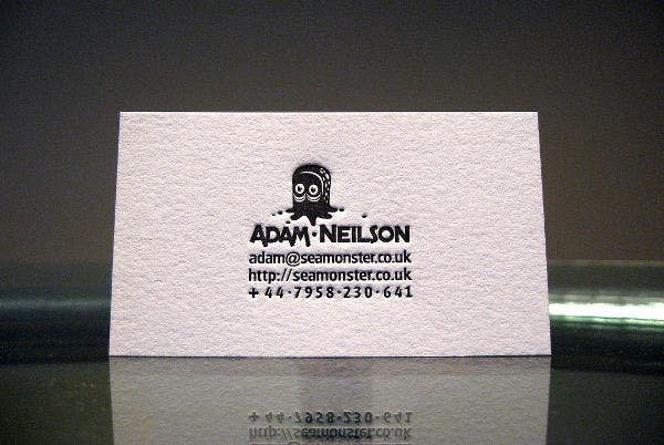 free letterpress business card