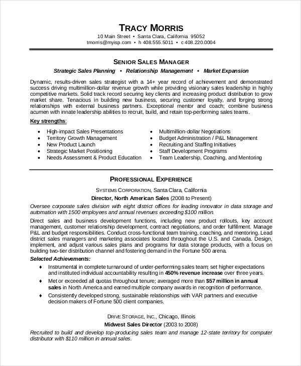 download sales manager resume template