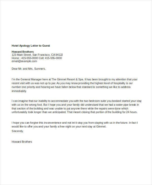 Apology Letter Download Free Premium Templates FormsHotel