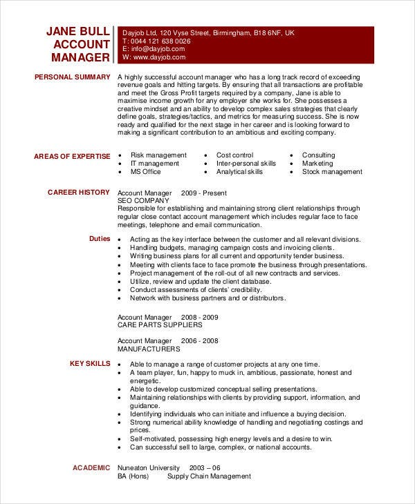 download account manager resume template