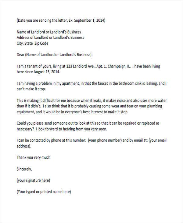 sample landlord complaint letter