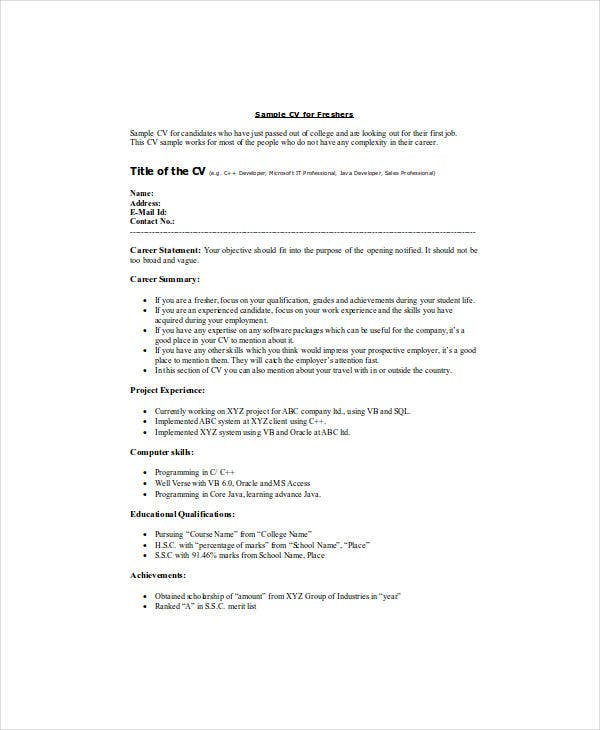 21+ Fresher Resume Templates - PDF, DOC