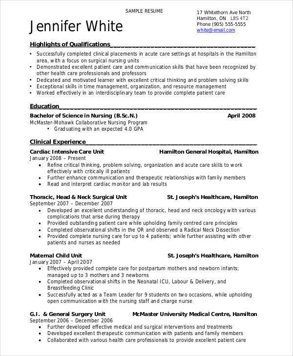 download resume format for bsc nursing