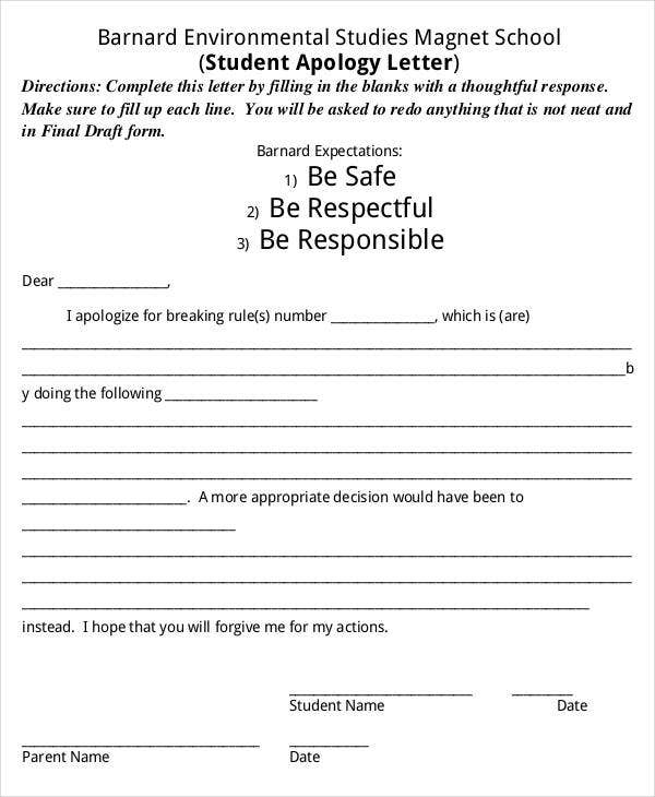 Apology Letter Templates 22 Free Word PDF Documents Download – Apology Letter to School