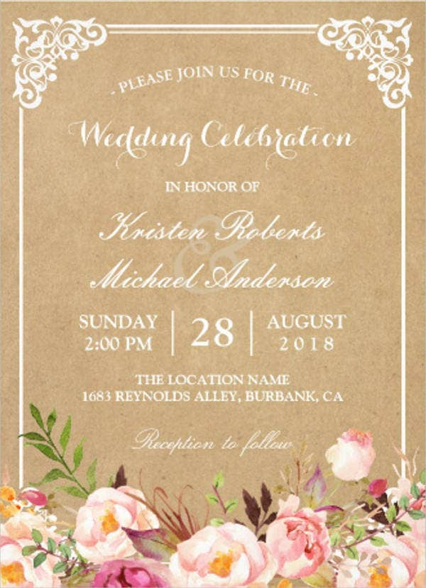 Wedding Celebration Invitation Card