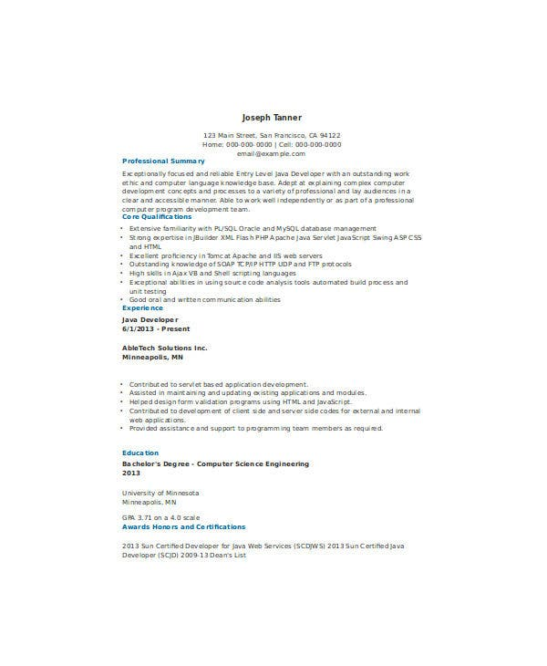 21  fresher resume templates