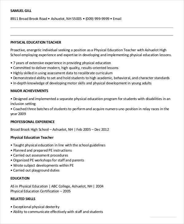 Beautiful Physical Education Gym Teacher Resume Example  Physical Education Teacher Resume