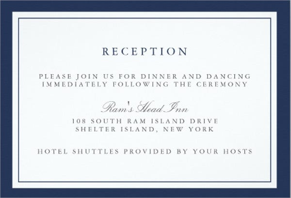 wedding invitations reception card