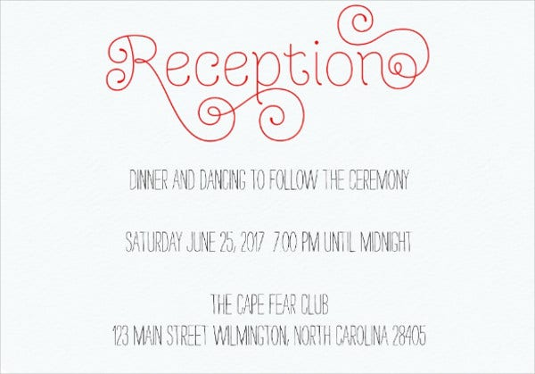 wedding reception cards wording