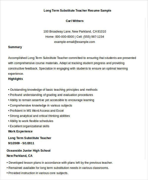 Long Term Substitute Teacher Resume Sample