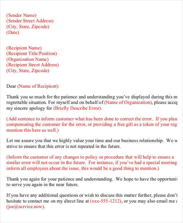 Apology Letter Templates 22 Free Word PDF Documents Download