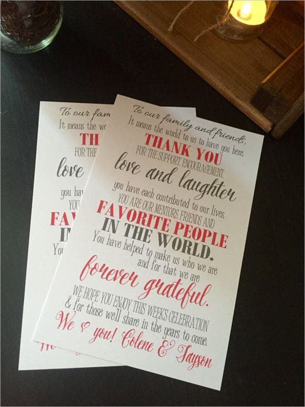 personalized thank you wedding card