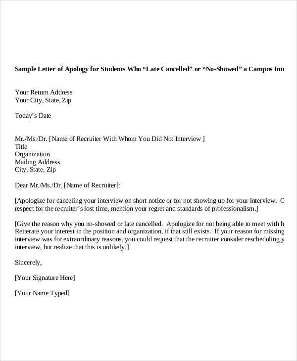 Formal Apology Letter Format Sample
