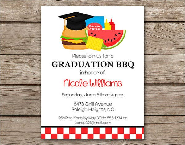graduation bbq menu invitation1