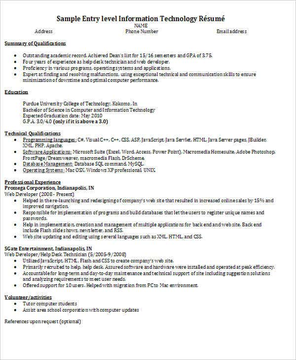 Resume Technical Support Engineer Sample