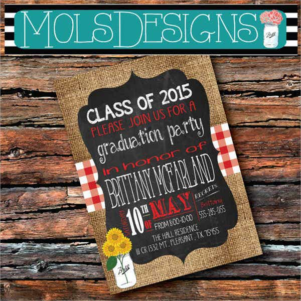 Chalkboard Graduation Cookout Invitation