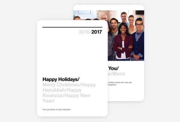 business thank you holiday card