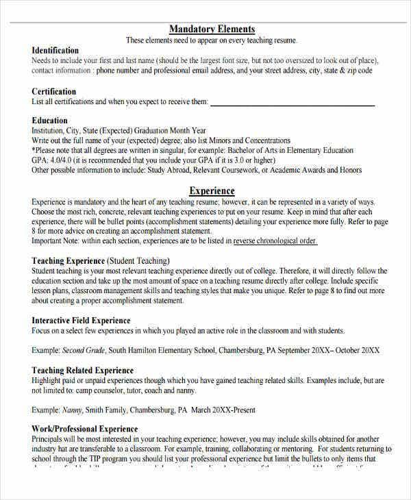 Professional Experience Teacher Resume Format  Teaching Resume Skills