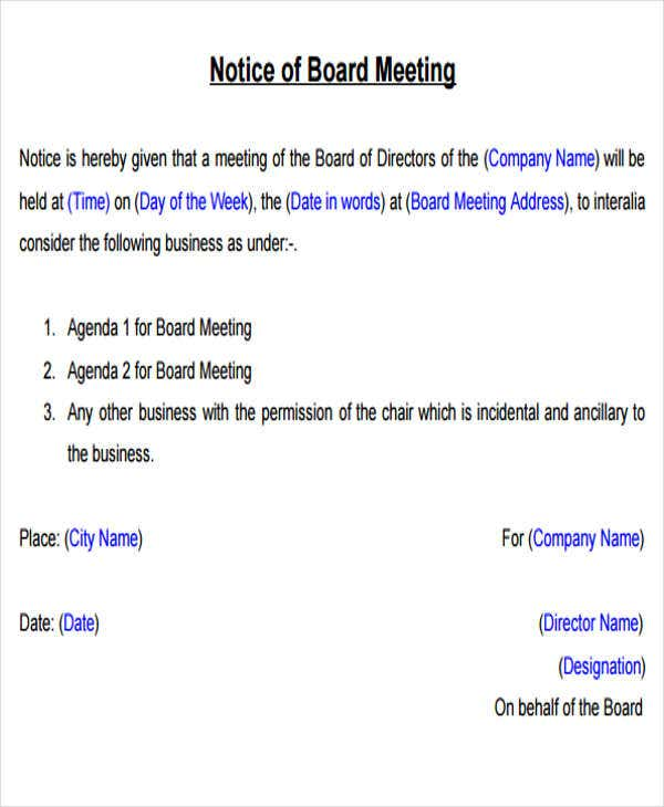 60 meeting invitation templates free premium templates for Notice of board meeting template