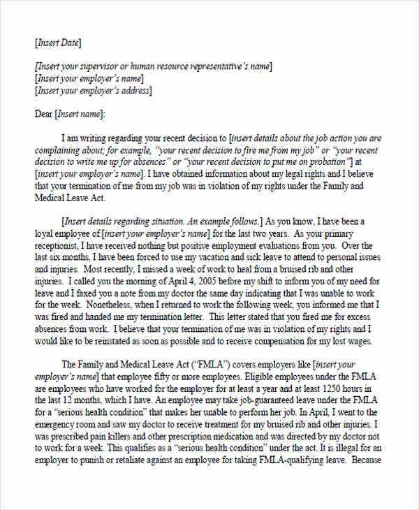 sample job complaint letter