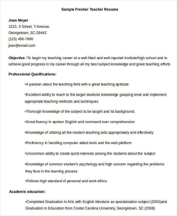 sample fresher teacher sample fresher teacher resume
