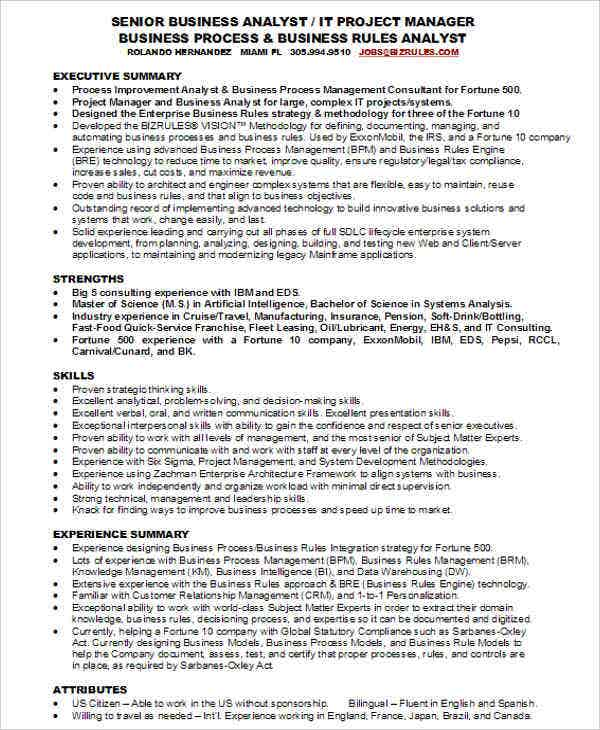 38 Fresher Resume Templates Download – Senior Business Analyst Resume Example
