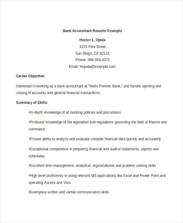 Junior Bank Accountant  Accounting Resume Objective Statements