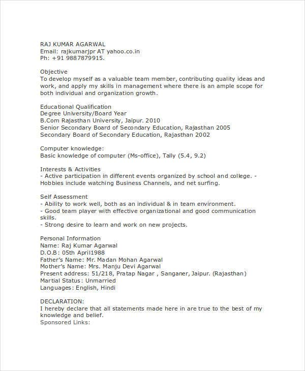 bcom computer fresher resume - Sample Resume For Bcom Computers Freshers