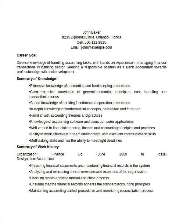 bank staff accountant - Banking Accountant Sample Resume