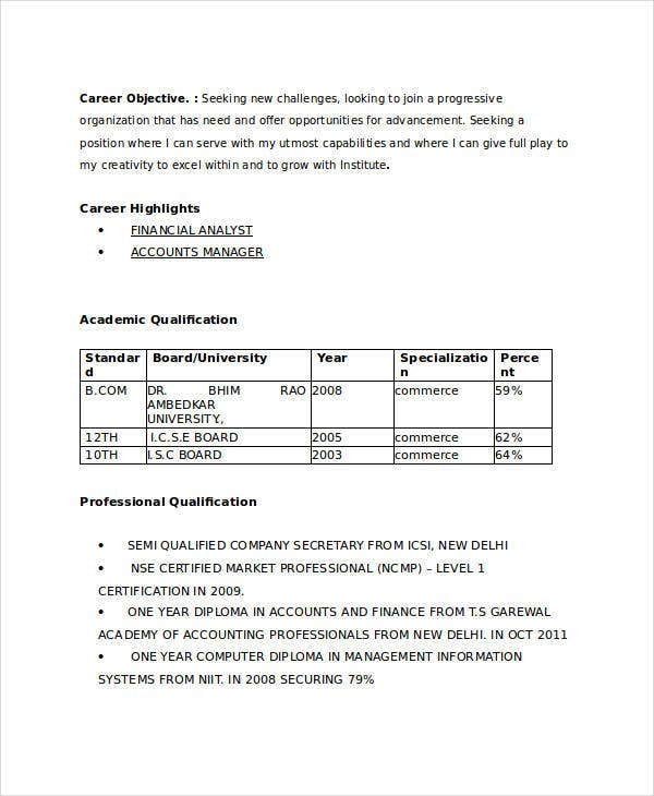 Resume Format For Freshers For Accountant: 21+ Fresher Resume Templates - PDF, DOC