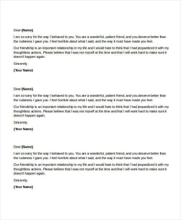 Apology Letter Templates