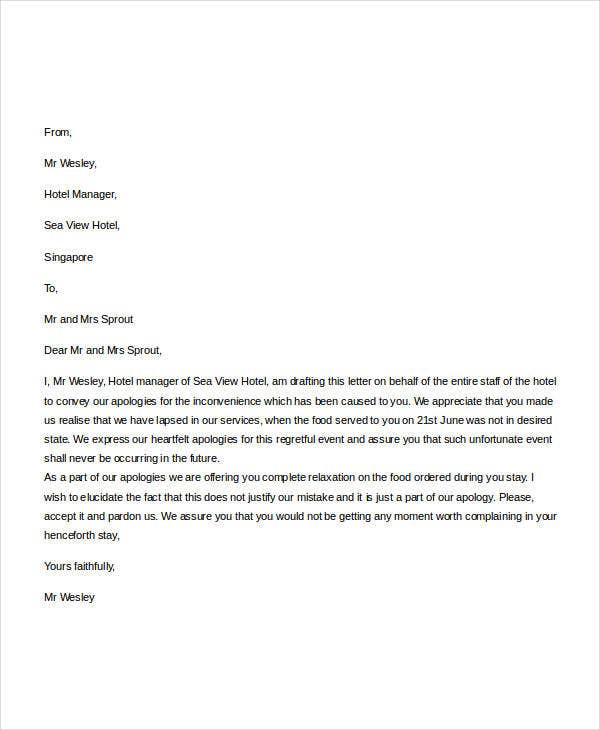 Hotel Apology Letter Apology Letter To School 8 Download Free