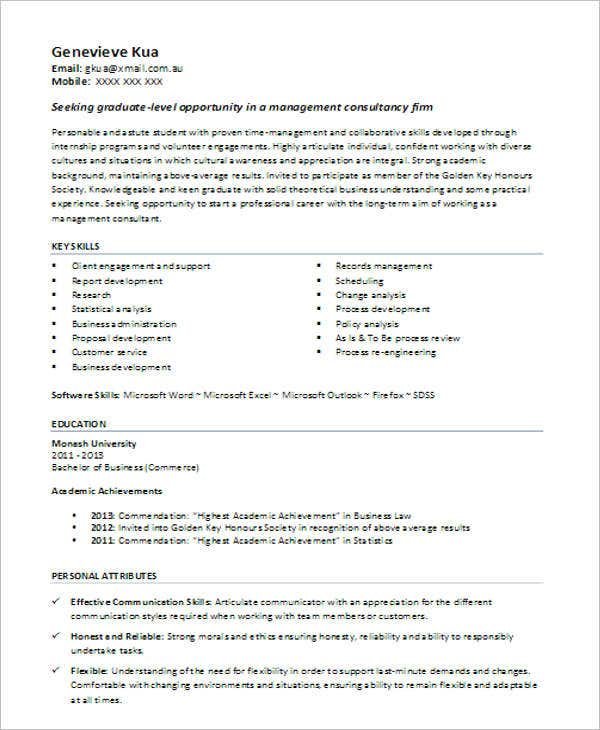 cv template business graduate