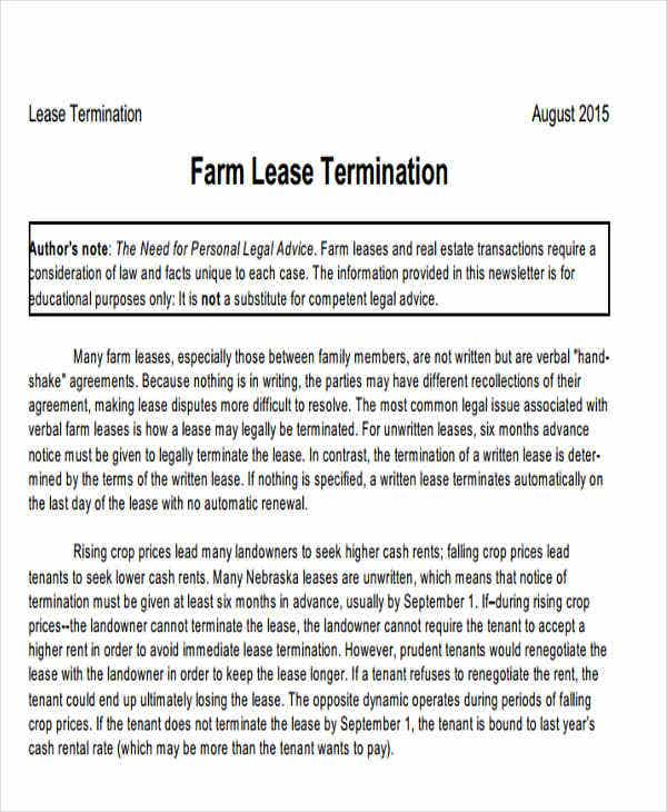 Farm Lease Termination Letter