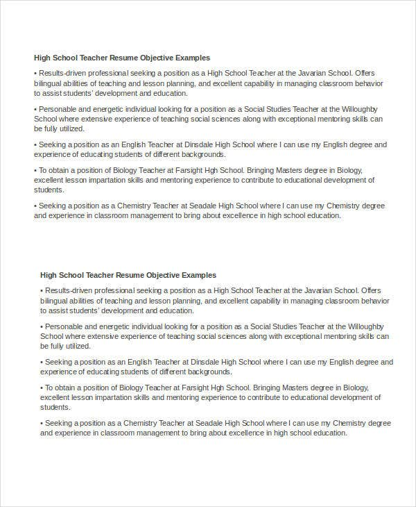 objective for high school teacher - Education Resume Objectives