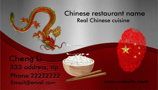 -Chinese Restaurant Business Card