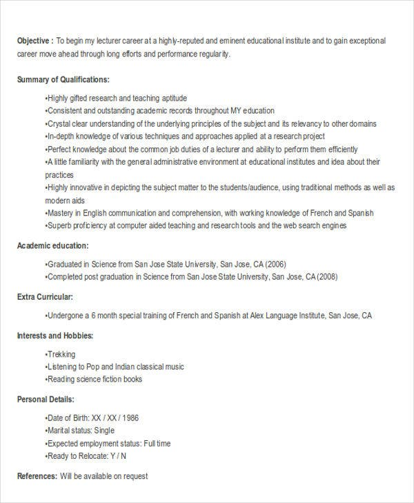 fresher lecturer job resume