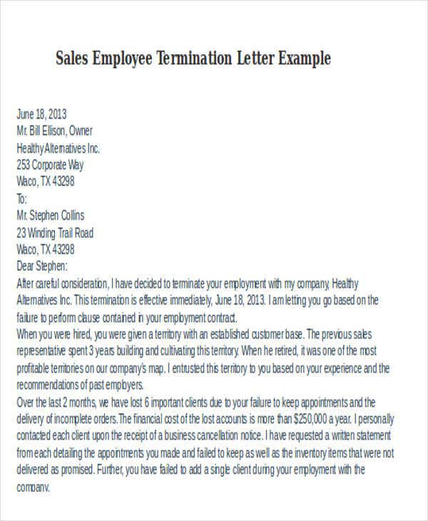 sales employee termination letter example
