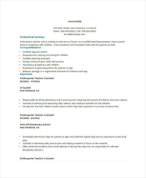 assistant kindergarten teacher resume