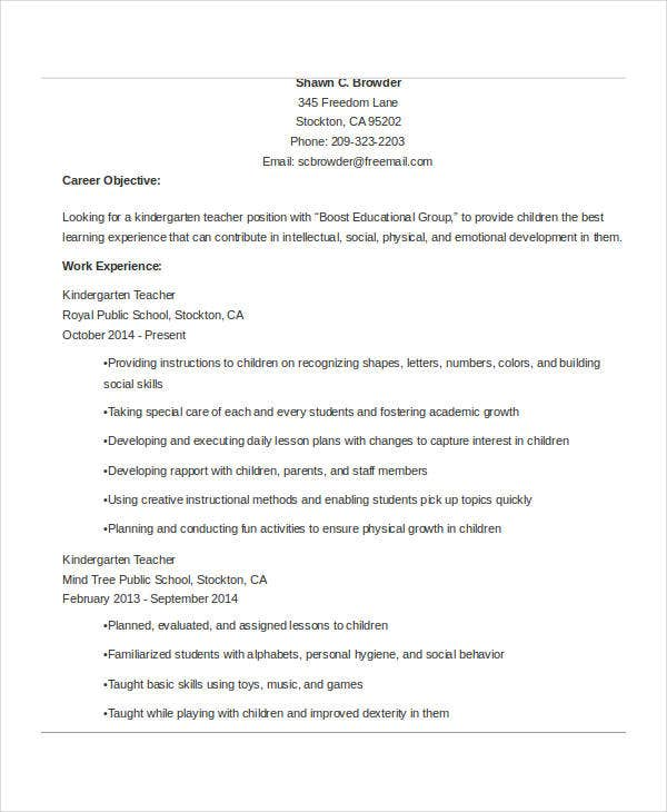 experienced kindergarten teacher resume3