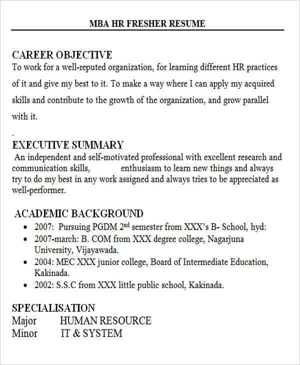 hr fresher sample resume - Sample Resume For Bcom Computers Freshers