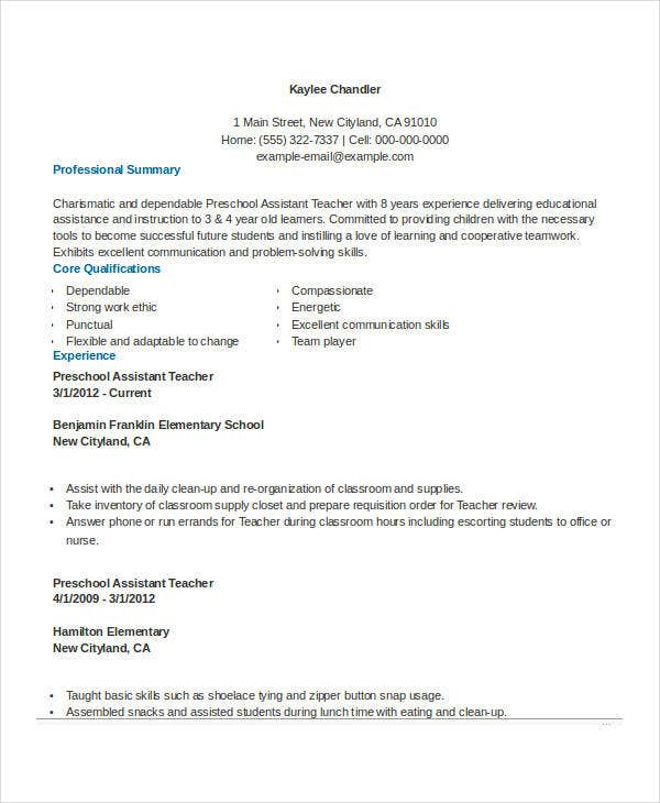 pre school assistant teacher resume with experience - Teacher Skills Resume