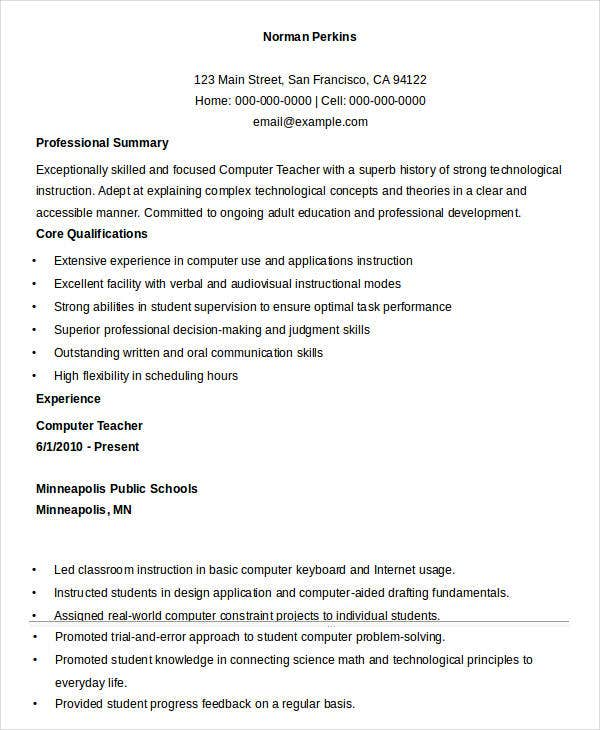 School Computer Teacher Resume  Professional Teaching Resume